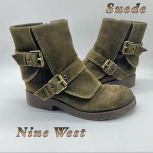 Nine West-Suede Army Green Midi buckle Boot 6.5
